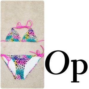 OP   Rainbow Leopard Print Bikini